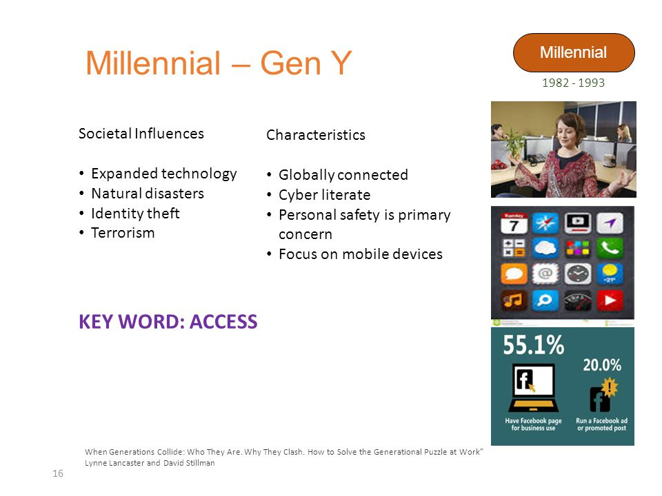 Millennial – Gen Y 16 When Generations Collide: Who They Are.
