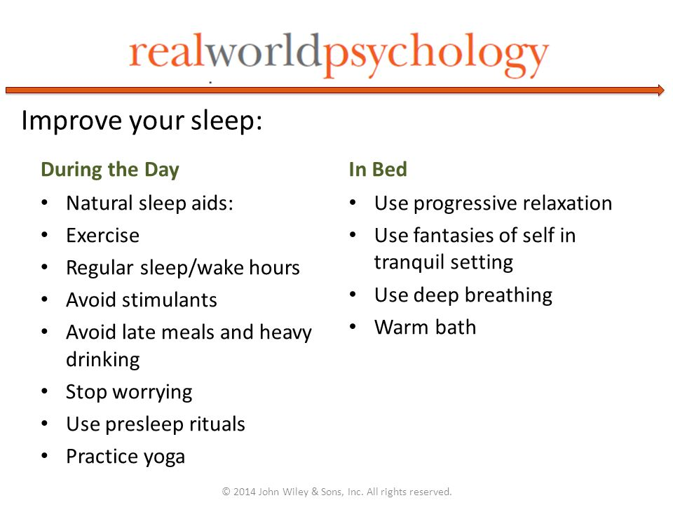 During the Day Natural sleep aids: Exercise Regular sleep/wake hours Avoid stimulants Avoid late meals and heavy drinking Stop worrying Use presleep rituals Practice yoga In Bed Use progressive relaxation Use fantasies of self in tranquil setting Use deep breathing Warm bath © 2014 John Wiley & Sons, Inc.