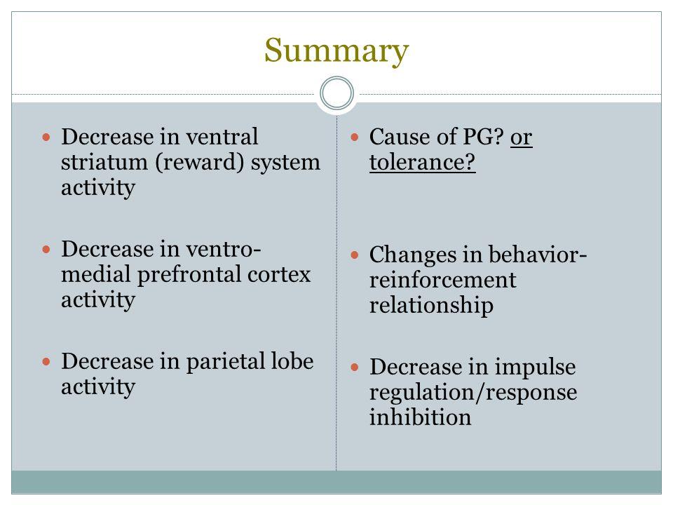 Summary Decrease in ventral striatum (reward) system activity Decrease in ventro- medial prefrontal cortex activity Decrease in parietal lobe activity
