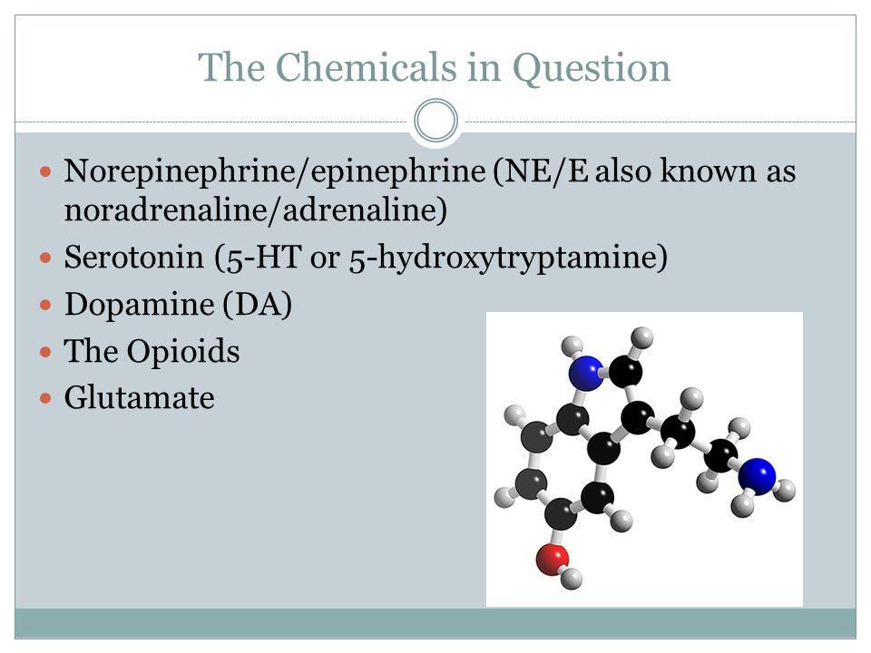 The Chemicals in Question Norepinephrine/epinephrine (NE/E also known as noradrenaline/adrenaline) Serotonin (5-HT or 5-hydroxytryptamine) Dopamine (D