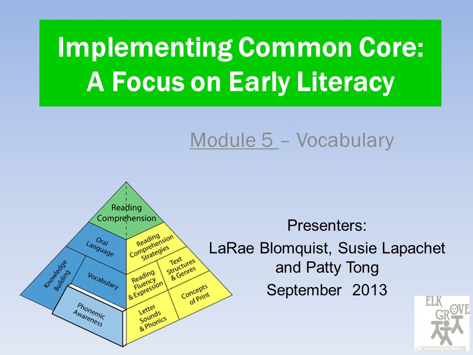 Implementing Common Core: A Focus on Early Literacy Module 5 – Vocabulary Presenters: LaRae Blomquist, Susie Lapachet and Patty Tong September 2013