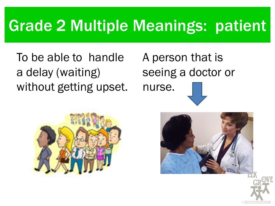 Grade 2 Multiple Meanings: patient To be able to handle a delay (waiting) without getting upset.