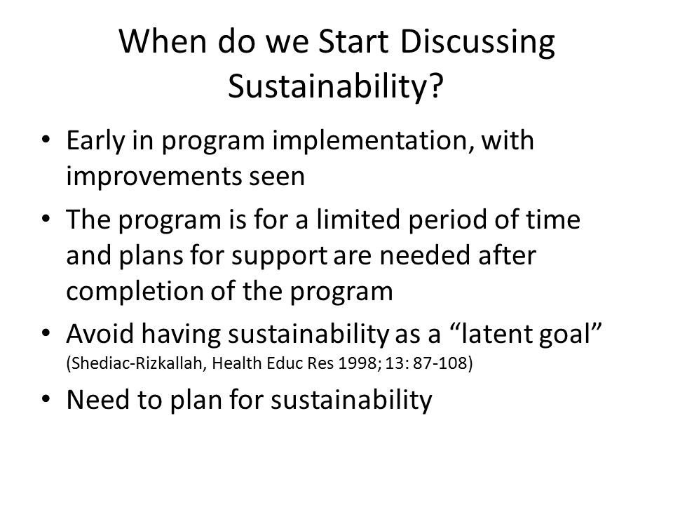 When do we Start Discussing Sustainability.