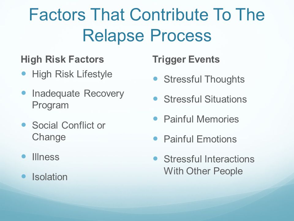 Factors That Contribute To The Relapse Process High Risk Factors High Risk Lifestyle Inadequate Recovery Program Social Conflict or Change Illness Isolation Trigger Events Stressful Thoughts Stressful Situations Painful Memories Painful Emotions Stressful Interactions With Other People