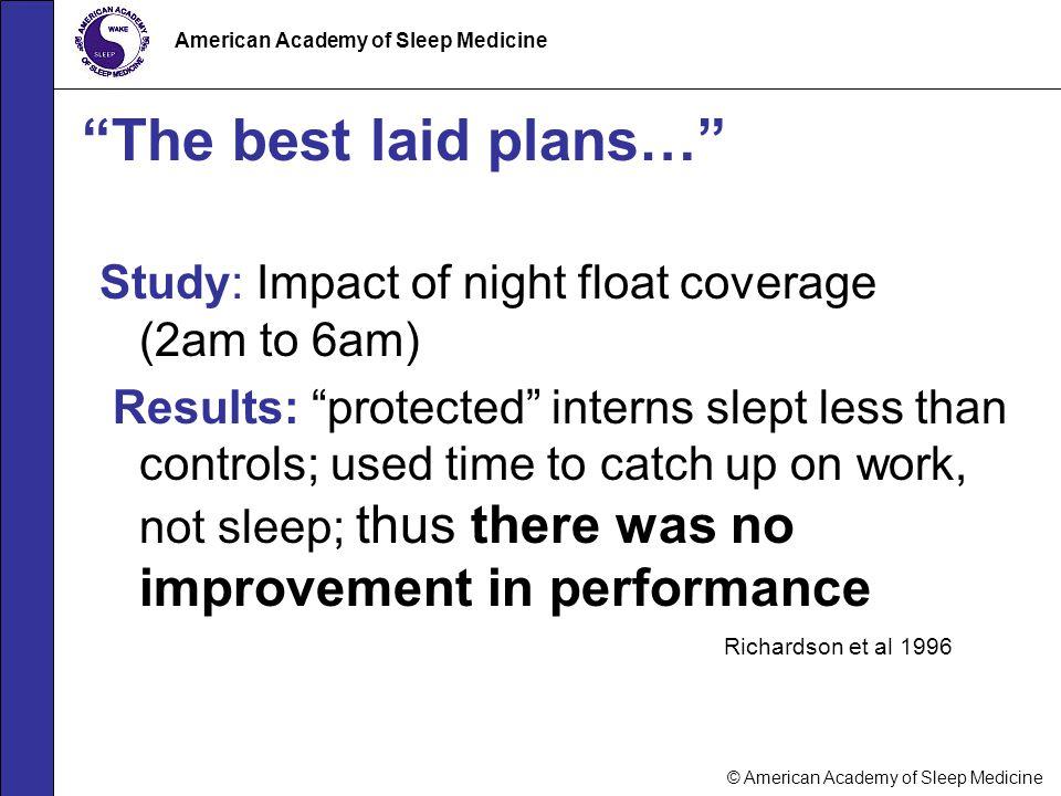 "© American Academy of Sleep Medicine American Academy of Sleep Medicine ""The best laid plans…"" Study: Impact of night float coverage (2am to 6am) Resu"