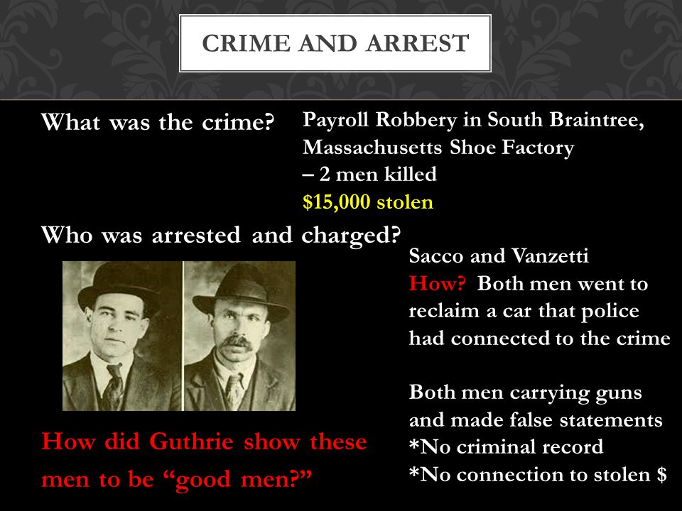 What was the crime. Who was arrested and charged.
