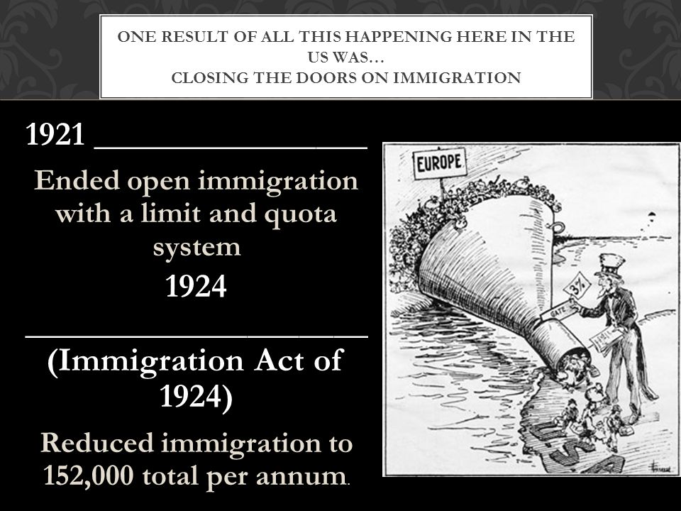 1921 ________________ Ended open immigration with a limit and quota system 1924 ____________________ (Immigration Act of 1924) Reduced immigration to 152,000 total per annum.