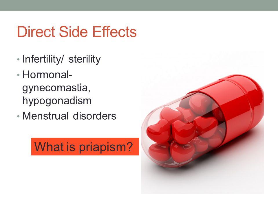 Direct Side Effects Infertility/ sterility Hormonal- gynecomastia, hypogonadism Menstrual disorders What is priapism