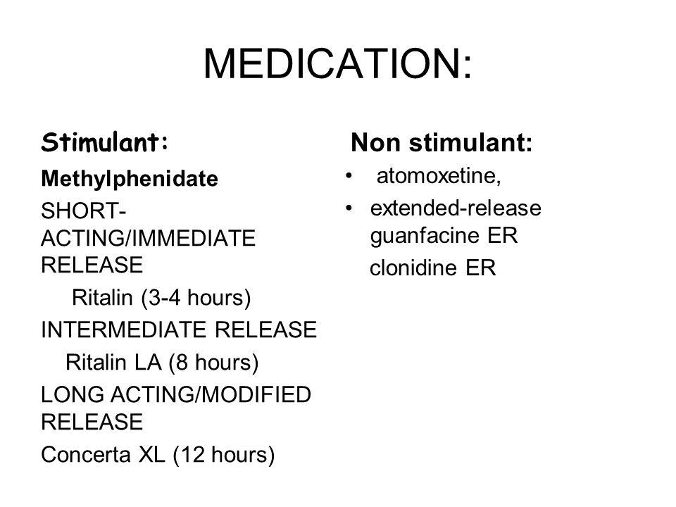 MEDICATION: Stimulant: Methylphenidate SHORT- ACTING/IMMEDIATE RELEASE Ritalin (3-4 hours) INTERMEDIATE RELEASE Ritalin LA (8 hours) LONG ACTING/MODIF