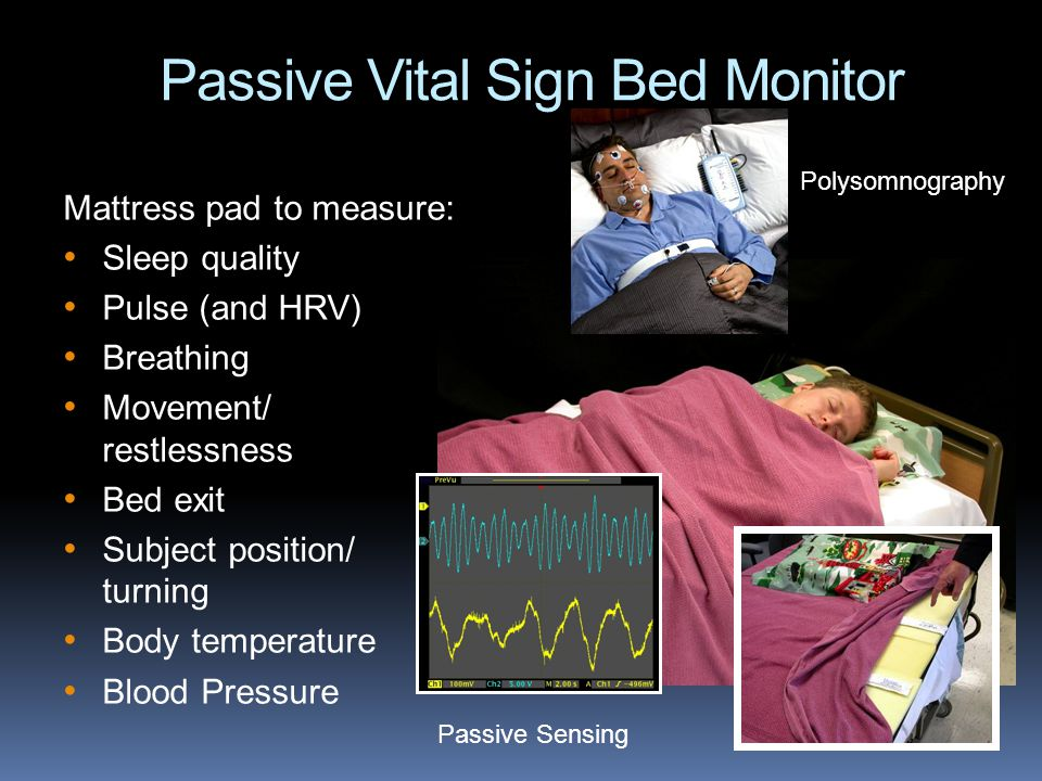 Passive Vital Sign Bed Monitor Mattress pad to measure: Sleep quality Pulse (and HRV) Breathing Movement/ restlessness Bed exit Subject position/ turning Body temperature Blood Pressure Polysomnography Passive Sensing