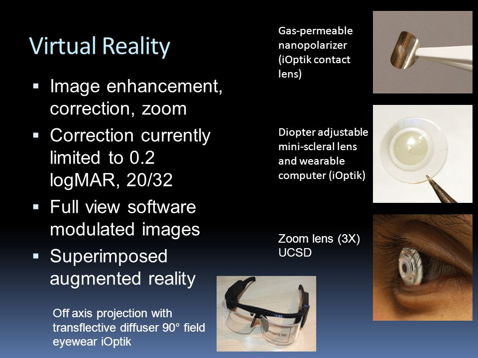 Virtual Reality  Image enhancement, correction, zoom  Correction currently limited to 0.2 logMAR, 20/32  Full view software modulated images  Superimposed augmented reality Gas-permeable nanopolarizer (iOptik contact lens) Off axis projection with transflective diffuser 90° field eyewear iOptik Zoom lens (3X) UCSD Diopter adjustable mini-scleral lens and wearable computer (iOptik)