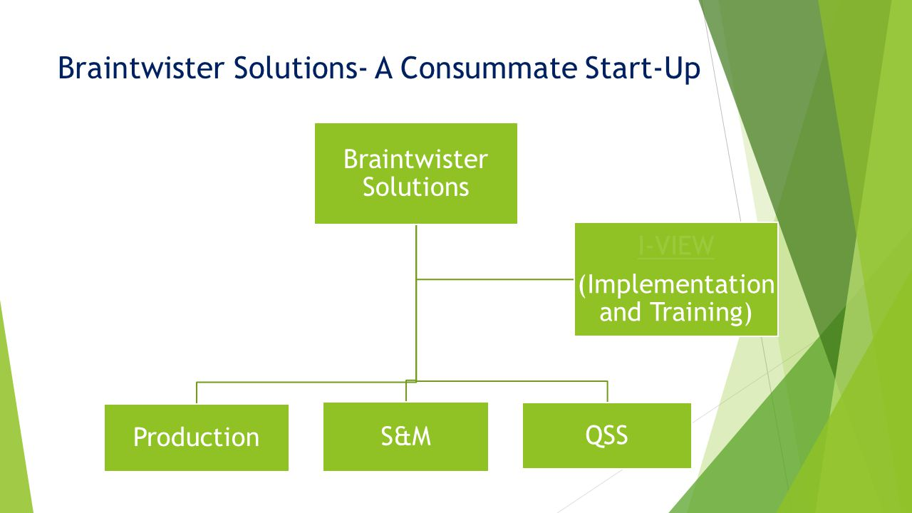 Braintwister Solutions- A Consummate Start-Up Braintwister Solutions Production S&M QSS I-VIEW (Implementation and Training)