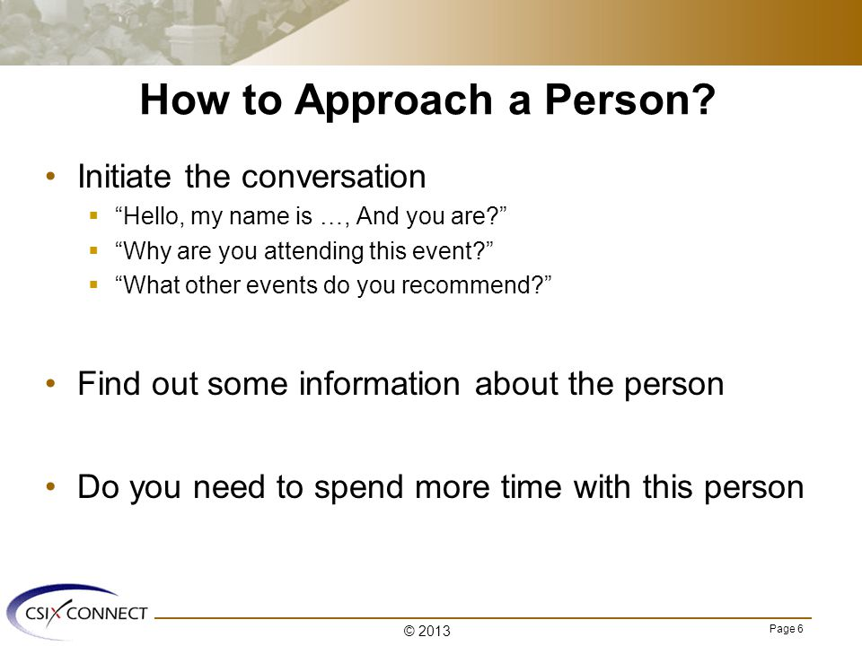 Page 6 How to Approach a Person.