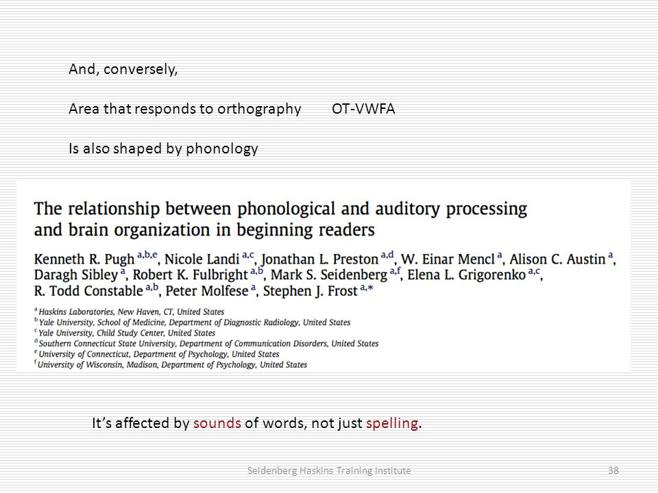 And, conversely, Area that responds to orthography OT-VWFA Is also shaped by phonology It's affected by sounds of words, not just spelling.