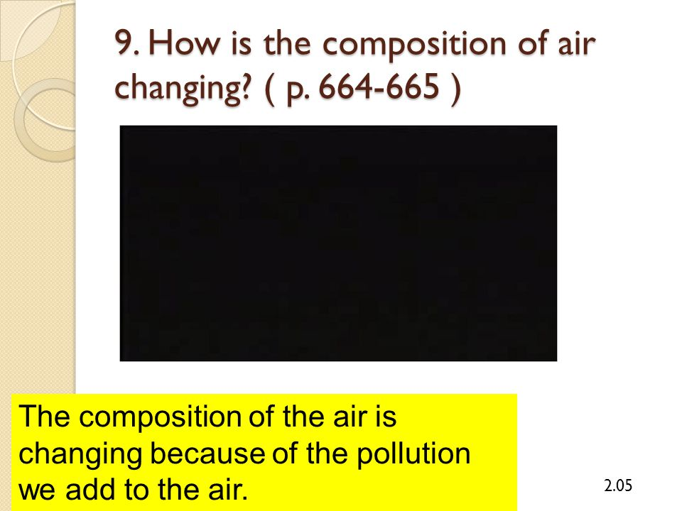 9. How is the composition of air changing? ( p. 664-665 ) 2.05 The composition of the air is changing because of the pollution we add to the air.