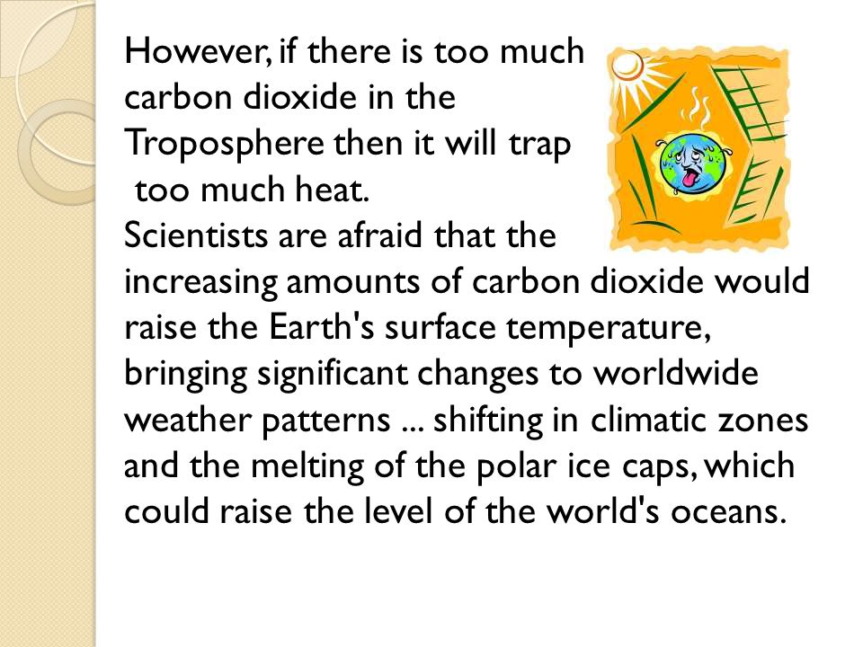 However, if there is too much carbon dioxide in the Troposphere then it will trap too much heat. Scientists are afraid that the increasing amounts of