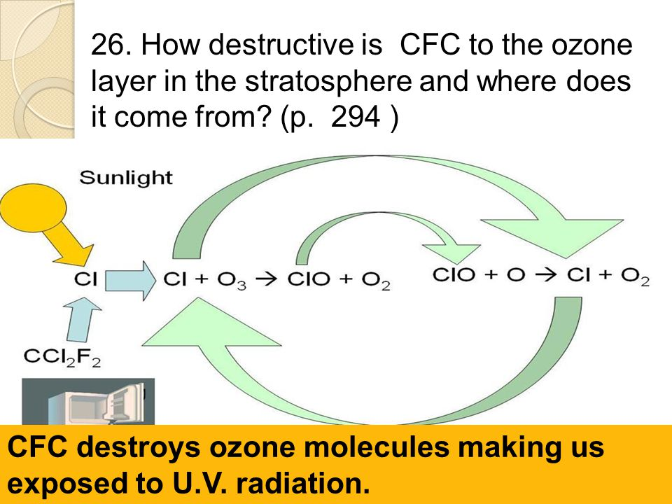 26. How destructive is CFC to the ozone layer in the stratosphere and where does it come from? (p. 294 ) CFC destroys ozone molecules making us expose