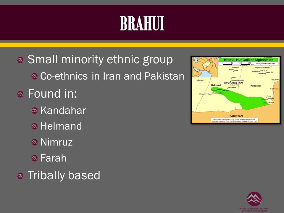 Small minority ethnic group Co-ethnics in Iran and Pakistan Found in: Kandahar Helmand Nimruz Farah Tribally based