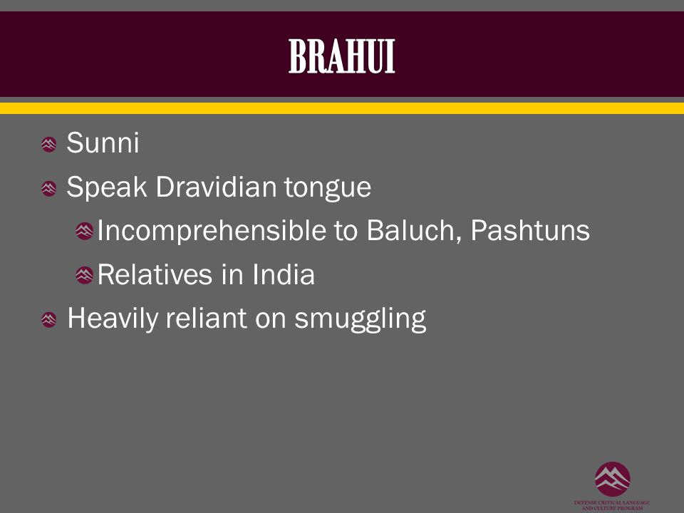 Sunni Speak Dravidian tongue Incomprehensible to Baluch, Pashtuns Relatives in India Heavily reliant on smuggling