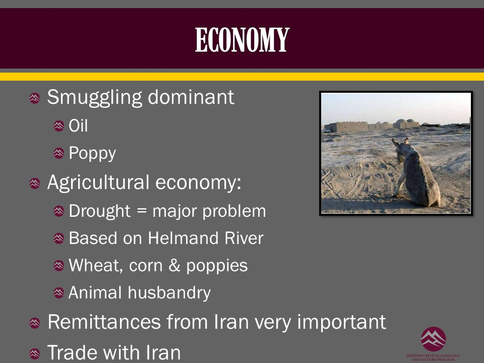 Smuggling dominant Oil Poppy Agricultural economy: Drought = major problem Based on Helmand River Wheat, corn & poppies Animal husbandry Remittances from Iran very important Trade with Iran