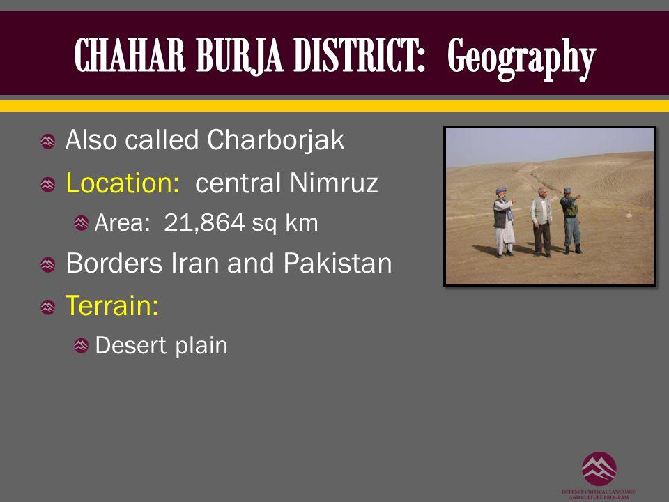 Also called Charborjak Location: central Nimruz Area: 21,864 sq km Borders Iran and Pakistan Terrain: Desert plain