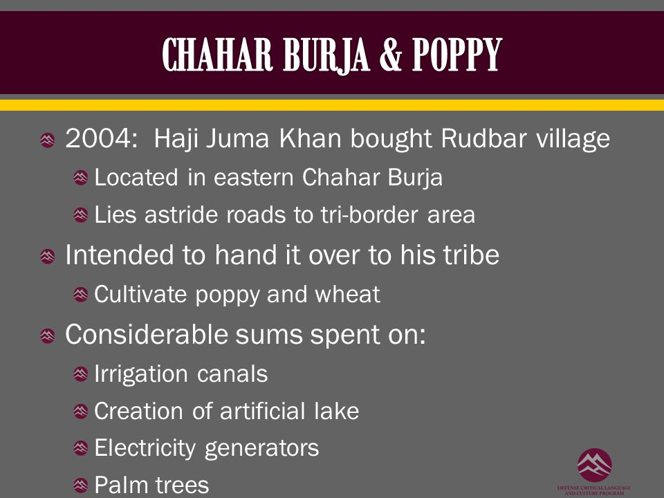 2004: Haji Juma Khan bought Rudbar village Located in eastern Chahar Burja Lies astride roads to tri-border area Intended to hand it over to his tribe Cultivate poppy and wheat Considerable sums spent on: Irrigation canals Creation of artificial lake Electricity generators Palm trees