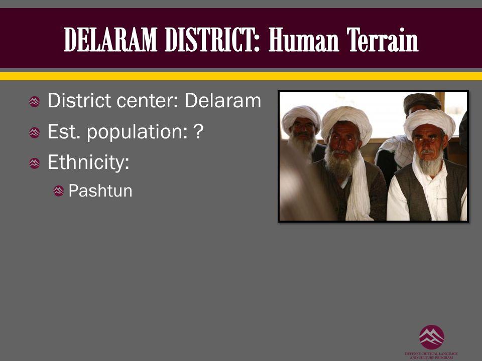 District center: Delaram Est. population: ? Ethnicity: Pashtun