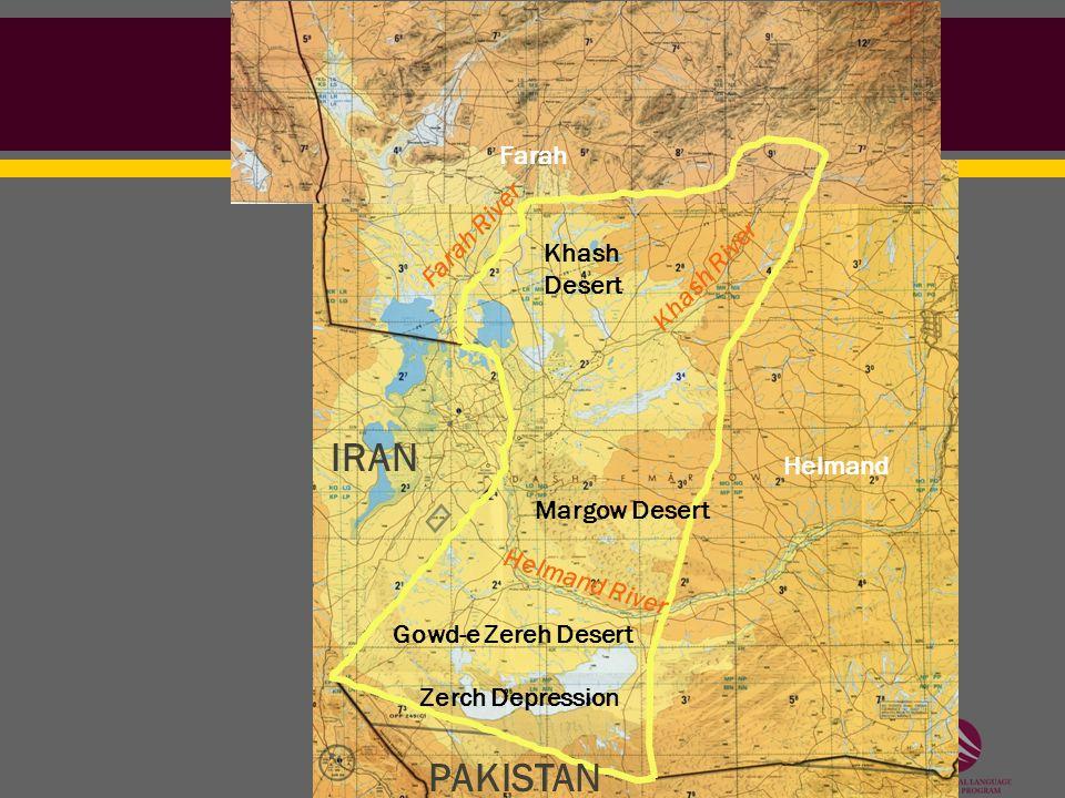 Zerch Depression Helmand River Gowd-e Zereh Desert Margow Desert Khash River Khash Desert IRAN PAKISTAN Helmand Farah Farah River