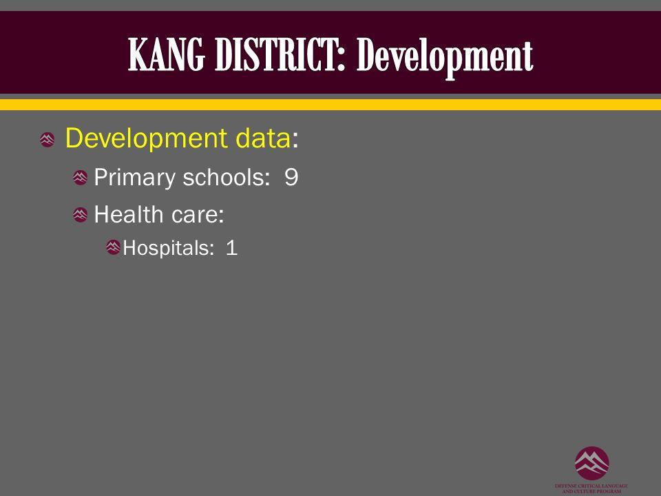 Development data: Primary schools: 9 Health care: Hospitals: 1
