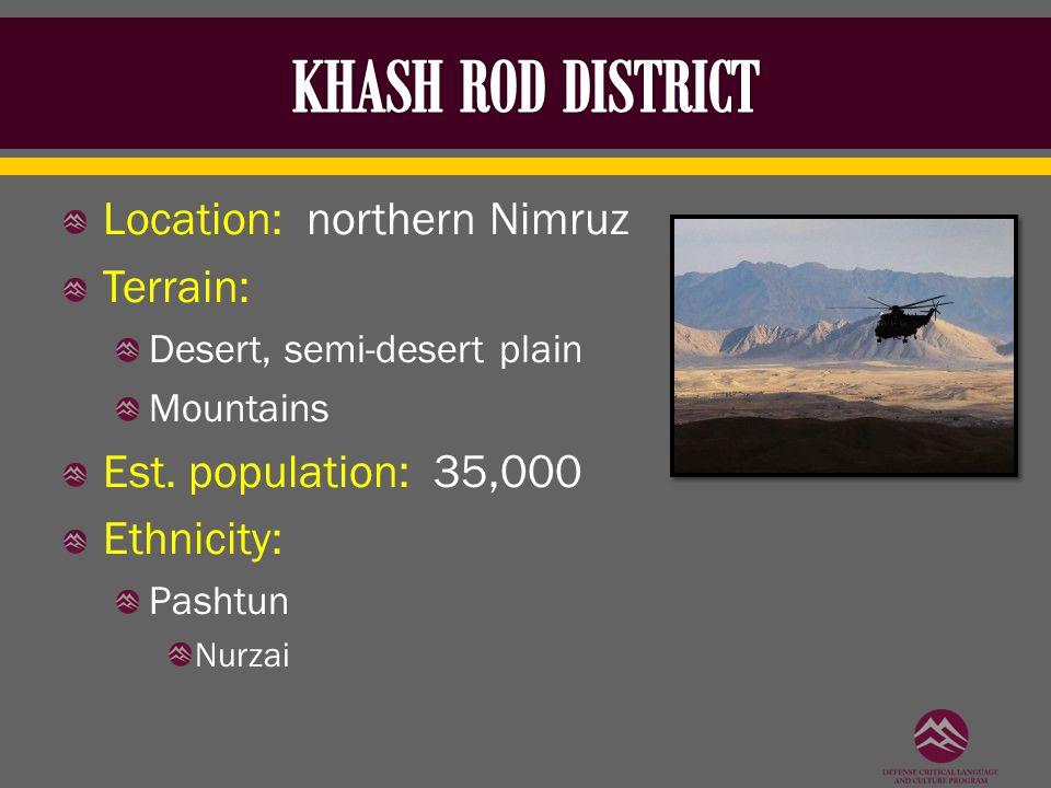 Location: northern Nimruz Terrain: Desert, semi-desert plain Mountains Est. population: 35,000 Ethnicity: Pashtun Nurzai