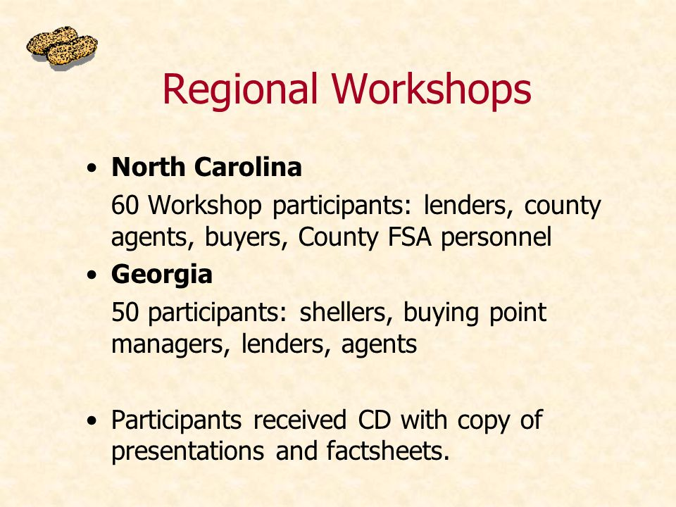 Regional Workshops North Carolina 60 Workshop participants: lenders, county agents, buyers, County FSA personnel Georgia 50 participants: shellers, buying point managers, lenders, agents Participants received CD with copy of presentations and factsheets.