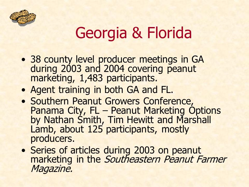 38 county level producer meetings in GA during 2003 and 2004 covering peanut marketing, 1,483 participants.