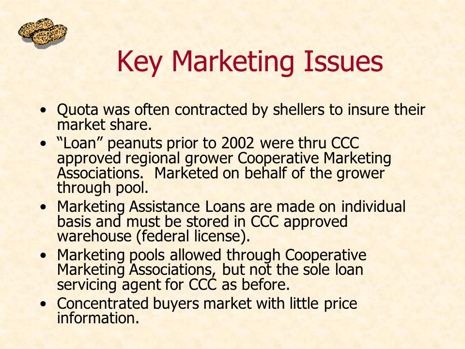 Key Marketing Issues Quota was often contracted by shellers to insure their market share.