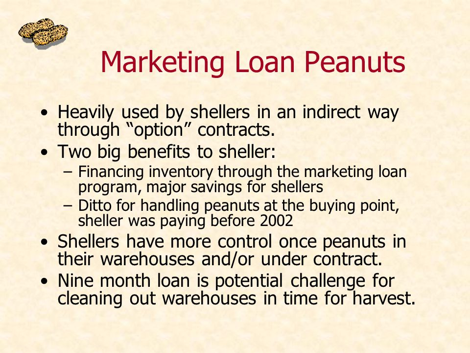 Marketing Loan Peanuts Heavily used by shellers in an indirect way through option contracts.