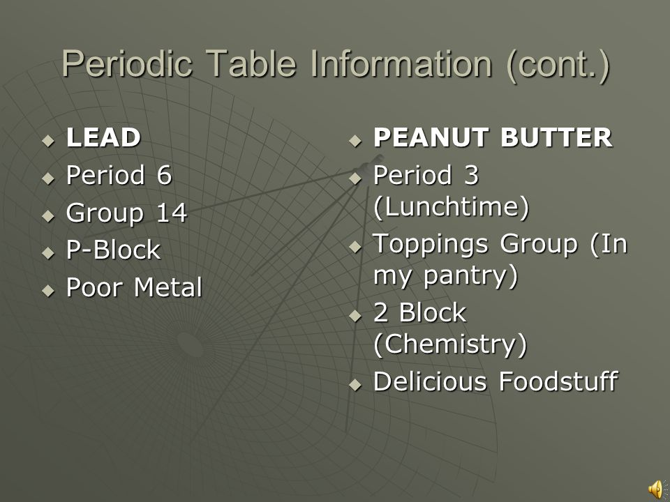 3 periodic table information lead atomic symbol pb atomic number 82 atomic mass 2072 atomic radius 175 peanut butter atomic symbol - Periodic Table Symbol Pb