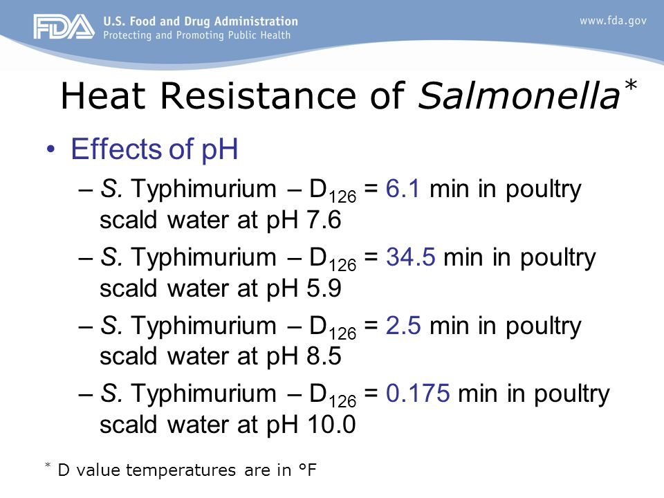 Heat Resistance of Salmonella * Effects of pH –S. Typhimurium – D 126 = 6.1 min in poultry scald water at pH 7.6 –S. Typhimurium – D 126 = 34.5 min in