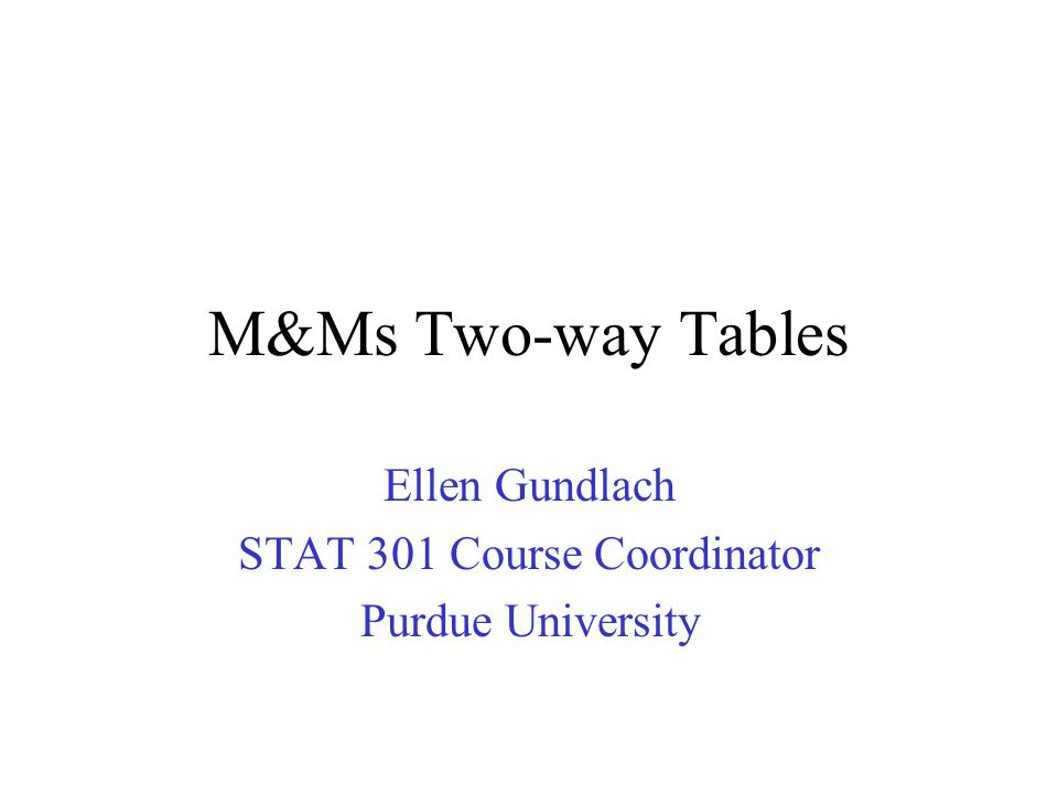 M&Ms Two-way Tables Ellen Gundlach STAT 301 Course Coordinator Purdue University
