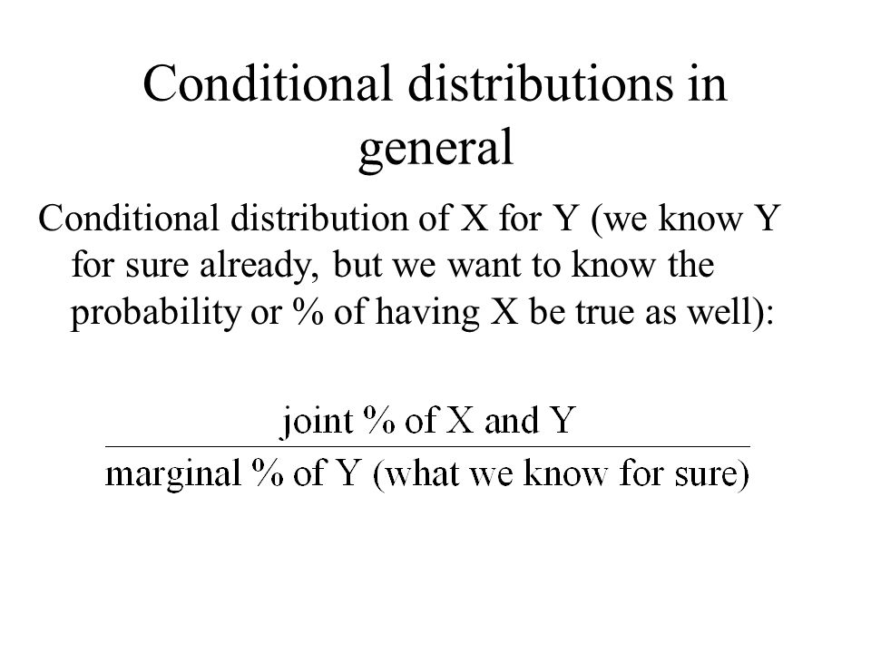 Conditional distributions in general Conditional distribution of X for Y (we know Y for sure already, but we want to know the probability or % of having X be true as well):
