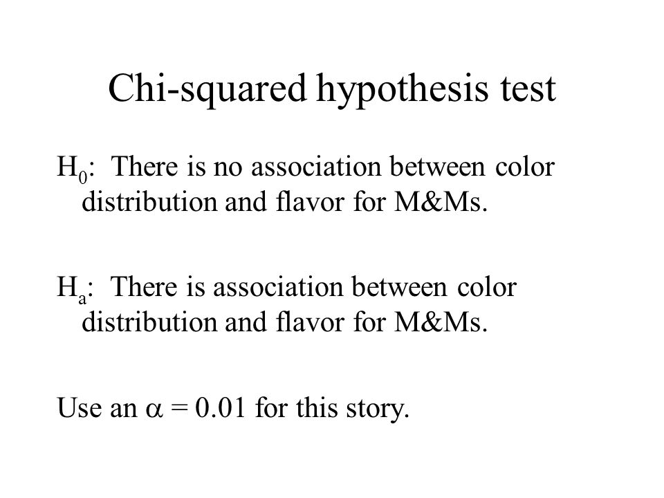 Chi-squared hypothesis test H 0 : There is no association between color distribution and flavor for M&Ms.