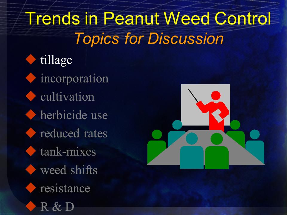 Trends in Peanut Weed Control Topics for Discussion u tillage u incorporation u cultivation u herbicide use u reduced rates u tank-mixes u weed shifts