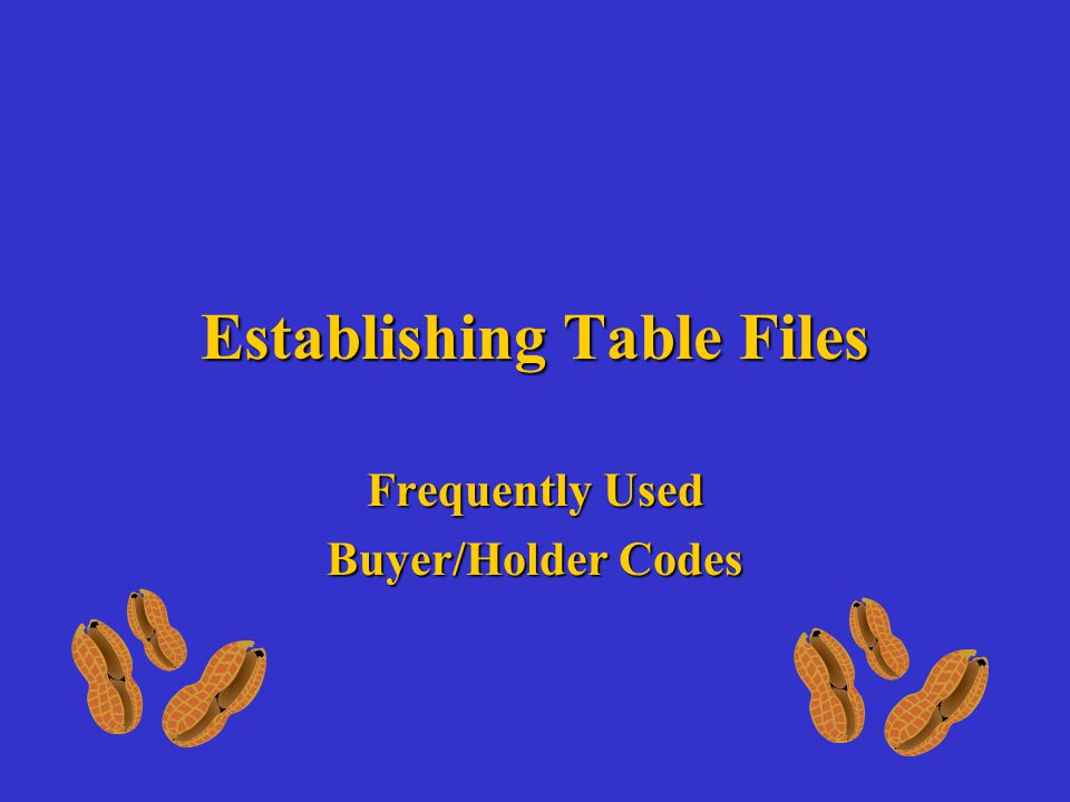 Establishing Table Files Frequently Used Buyer/Holder Codes