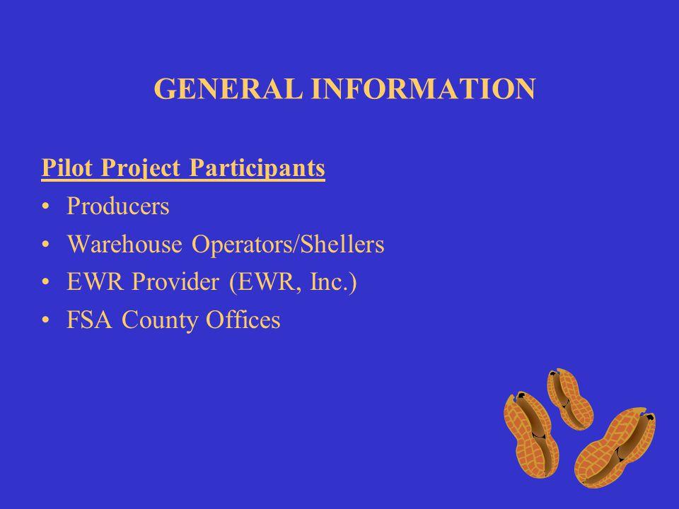 GENERAL INFORMATION WAREHOUSE 1 WAREHOUSE 2 WAREHOUSE 3 EWR PROVIDER FSA COUNTY OFFICE KC NITC MAINFRAME PEANUT EWR 2008 CROP YEAR Components PK8