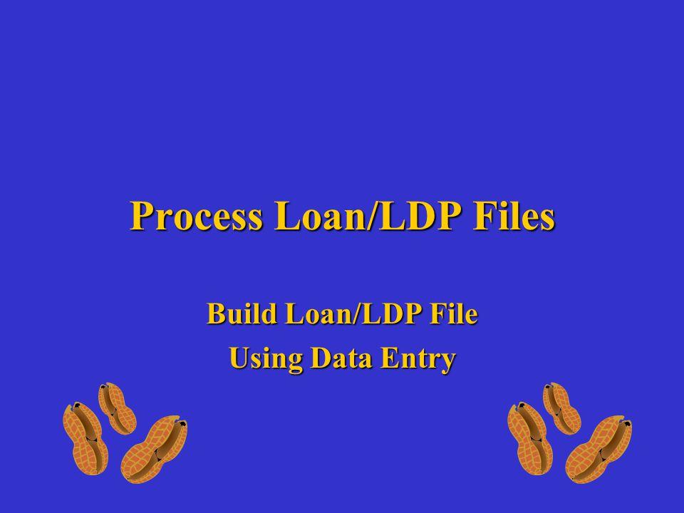Process Loan/LDP Files Build Loan/LDP File Using Data Entry