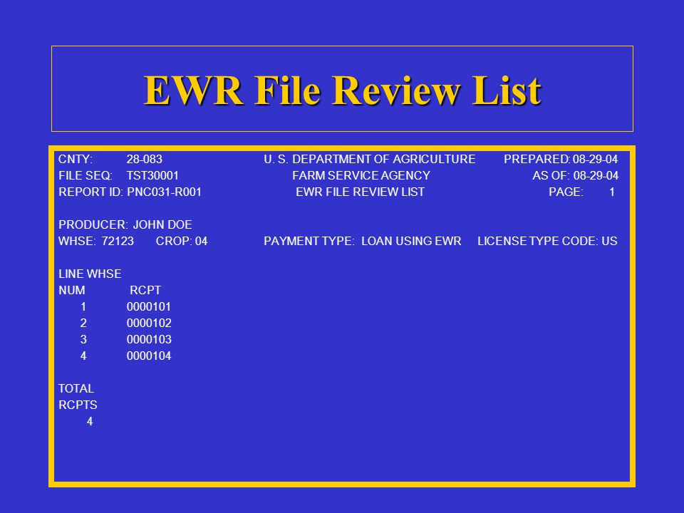 EWR File Review List CNTY:28-083U. S. DEPARTMENT OF AGRICULTURE PREPARED: 08-29-04 FILE SEQ:TST30001 FARM SERVICE AGENCY AS OF: 08-29-04 REPORT ID:PNC