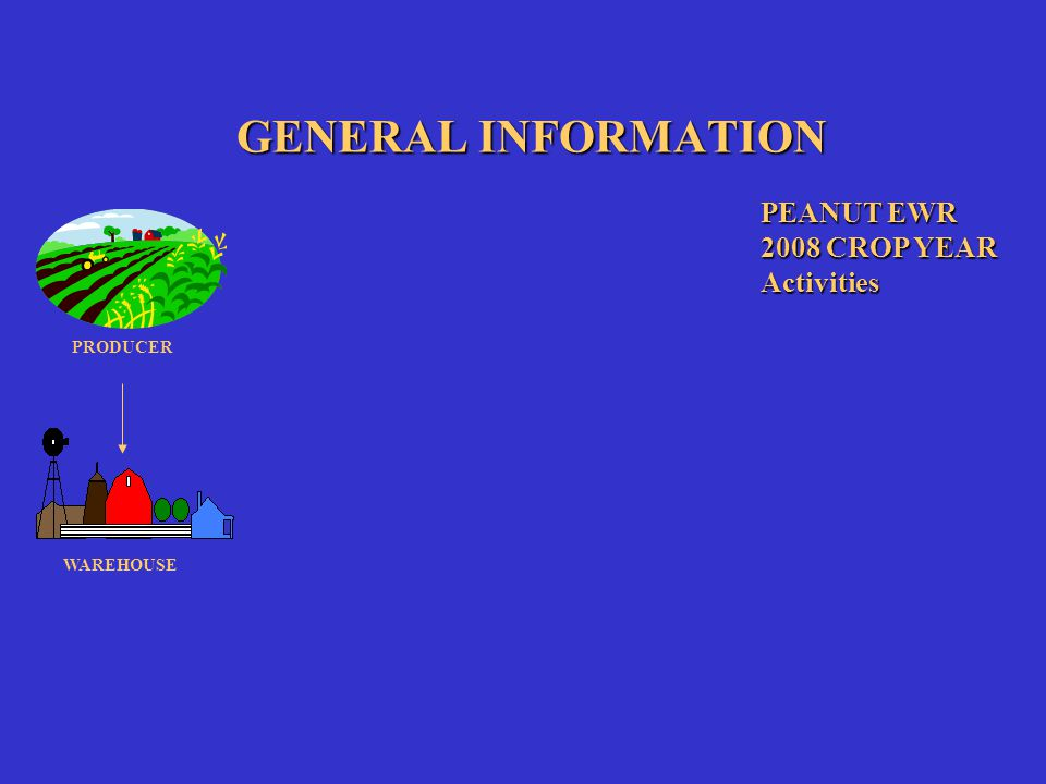 GENERAL INFORMATION PEANUT EWR 2008 CROP YEAR Activities PRODUCER WAREHOUSE FSA COUNTY OFFICE