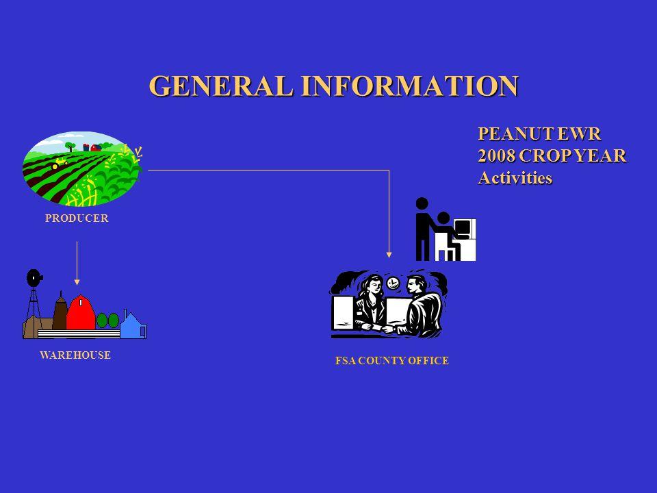 GENERAL INFORMATION FSA COUNTY OFFICE PEANUT EWR 2008 CROP YEAR Activities PRODUCER WAREHOUSE EWR PROVIDER