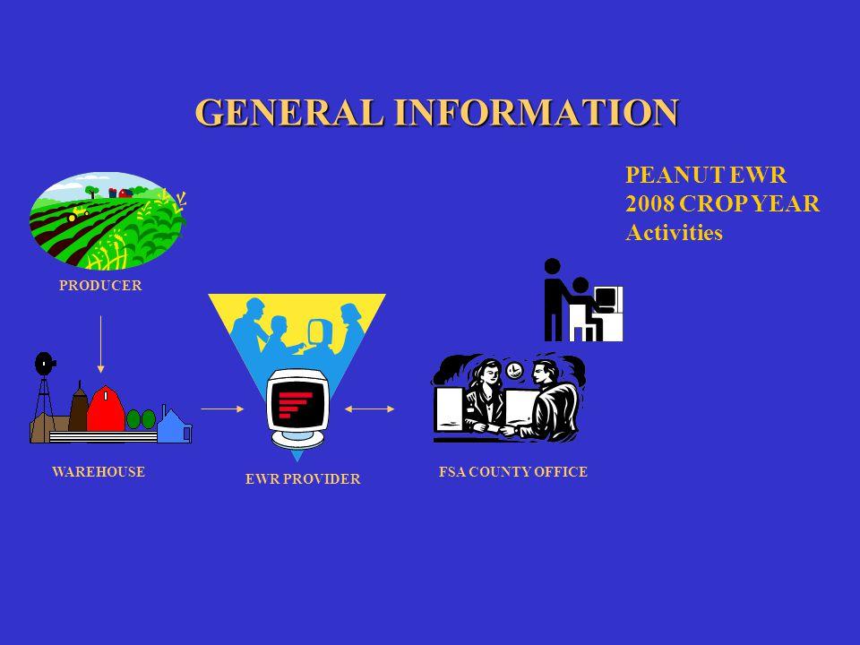 GENERAL INFORMATION EWR PROVIDER FSA COUNTY OFFICE PEANUT EWR 2008 CROP YEAR Activities PRODUCER WAREHOUSE