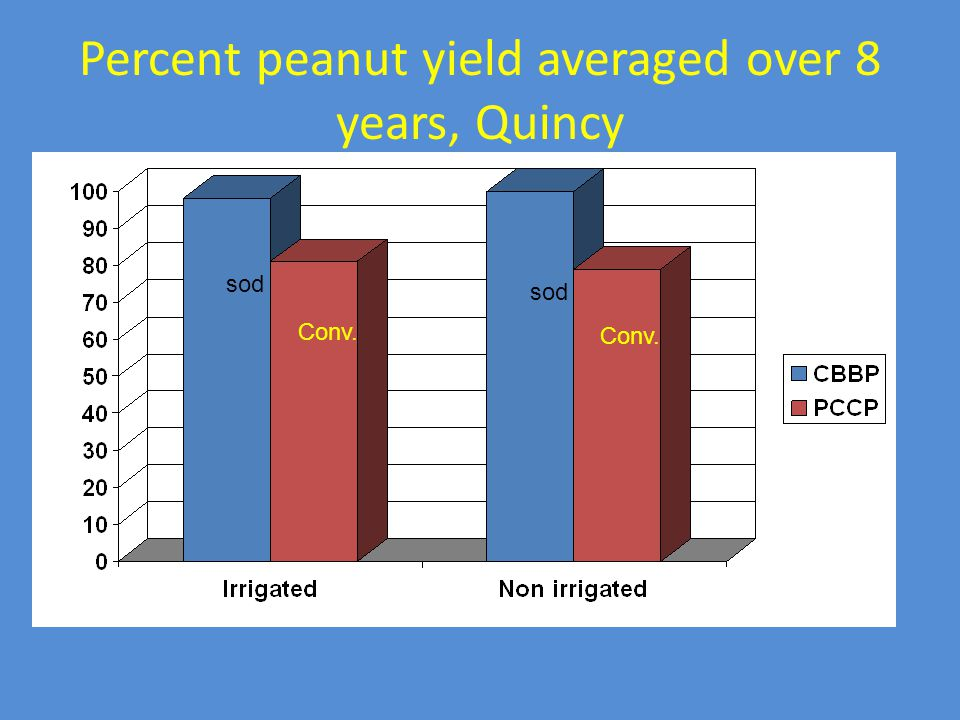 Percent peanut yield averaged over 8 years, Quincy sod Conv.