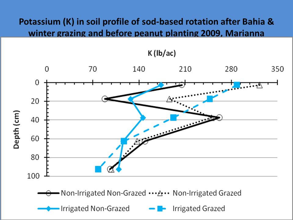 Potassium (K) in soil profile of sod-based rotation after Bahia & winter grazing and before peanut planting 2009, Marianna