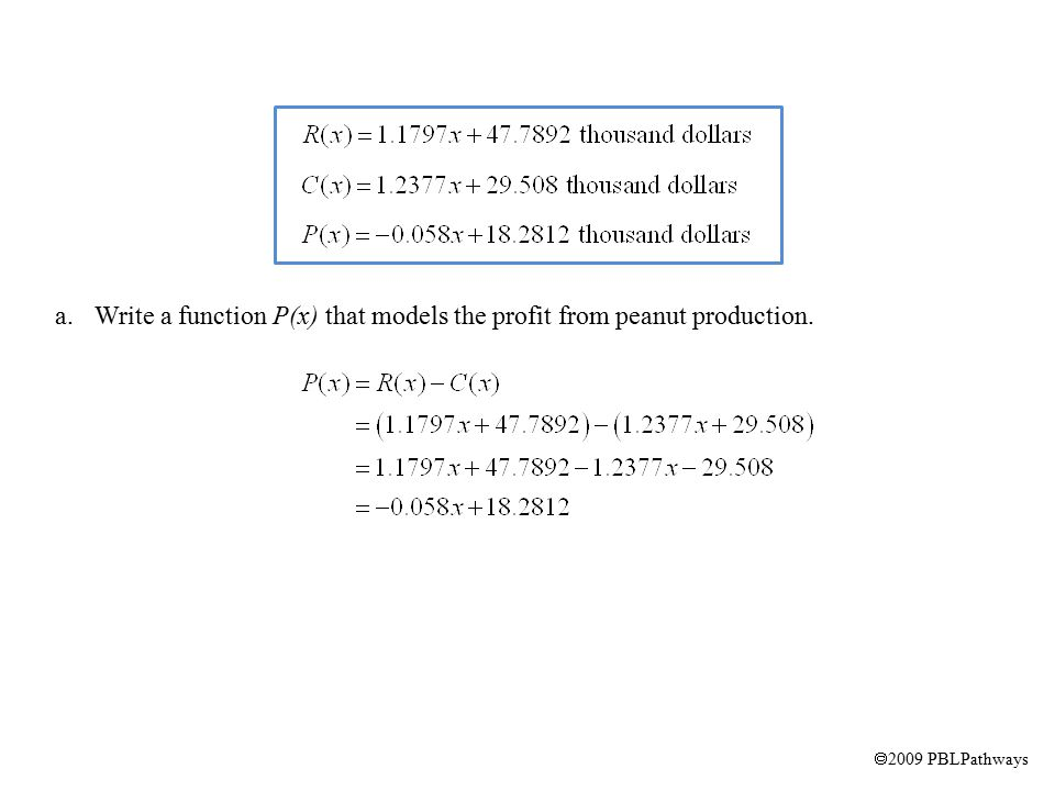  2009 PBLPathways a.Write a function P(x) that models the profit from peanut production.